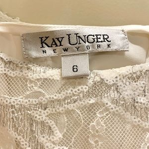 Kay Unger Dresses - ✨✨Kay Unger White Lace Sequins Feathers Dress✨✨